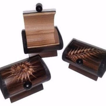 3 Vintage Handmade Bamboo Jewelry Box 3 Set Trinket Box Ring Box Engraved Wood Box Colombian Bamboo Art Carved Jewelry Box Wood Art