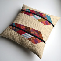 Quilted Pillow Cover, Modern Pillow Cover, Modern Pillow, Feathers, 18 x 18, Stripe Throw Pillow