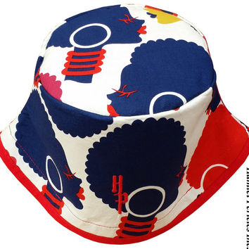African Queen Red Brim XL Bucket Hat   Afro   Afrocentric Hat   Natural Hair Hat   African Silhouette   Red Blue Hat 1a by Hamlet Pericles