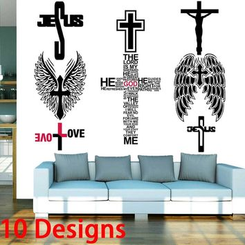 Cross wall stickers Jesus God Lord Bless church bedroom decoration Christmas 8505. vinyl adesivo de paredes home decals art 3.5