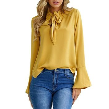 Long Flare Sleeve Ruffles Blouse