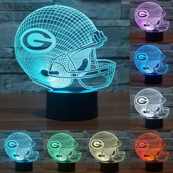 Acrylic LED Table Lamp Baseball cap Green Bay Packers 3D LED night light 7 color changing touch switch NightLamps