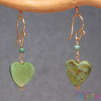 "linked with green turquoise hearts, 1-1/4"" Earring Gold Or Silver"