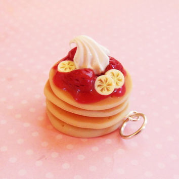 Polymer Clay Strawberry Banana Pancake Stack Charm, Key Chain, Dust Plug, Planner Charm