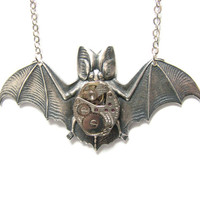 Steampunk Necklace Bat With Stunning Jeweled Watch Movement  by:Mechanique Steampunk