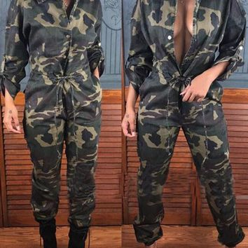 Grey Camouflage Buttons Drawstring Pockets Long Sleeve Casual Long Jumpsuit