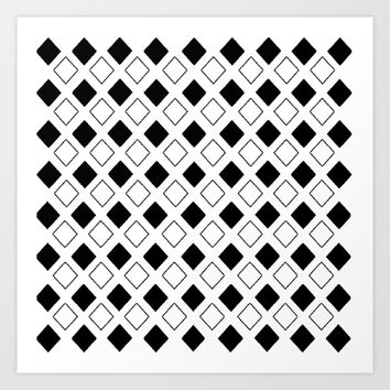 Rhombus: Black and White II Art Print by VickaBoleyn