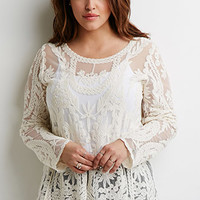 Ornate Embroidered-Mesh Top