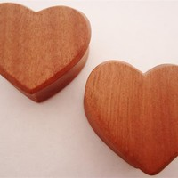 Heart Shaped Wood Plugs (0 gauge - 1 inch)