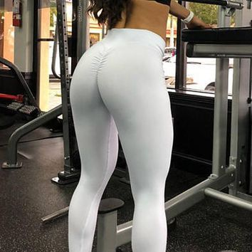 White Pleated High Waisted Yoga Workout Sports Long Legging