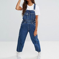 ASOS Denim Dungaree in Darkwash at asos.com