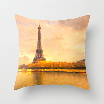 Impressions of Paris - The Eiffel Tower Throw Pillow by Mark E Tisdale