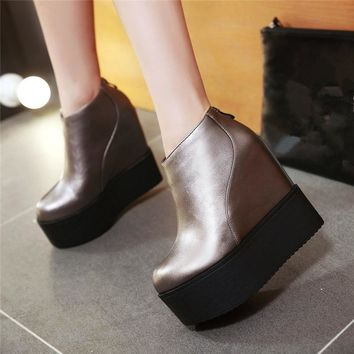 YMECHIC 2018 Winter Autumn Ankle Boot Silver Black Goth Platform Shoes Ladys Creepers Punk Thick Sole Rock Short Platforms Boots