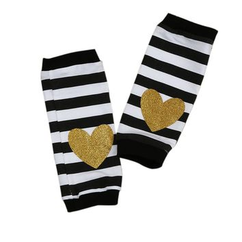 2017 Autumn christmas Baby Boys Girls Cute Stripe Socks Infant Kids gold striped heart Print Leg Warmers socks Knee pad Socks
