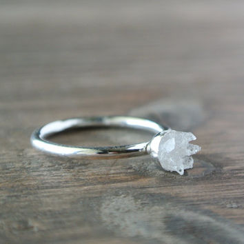 Geode Ring. One of a Kind Crystal Jewelry. OOAK Sterling Silver Ring. Raw Crystal Tiny Quartz Ring