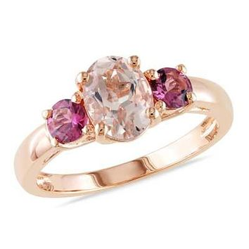 Oval Morganite and Pink Tourmaline Ring in Rose Rhodium Plated Sterling Silver - View All Rings - Zales