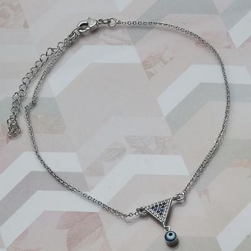 Rhodium Plated Women Greek Eye Charm Anklet , with Multicolor Micro Pave, by Folks Jewelry