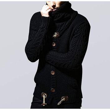 Mens Shawl Collar Horn Button Cardigan in Black