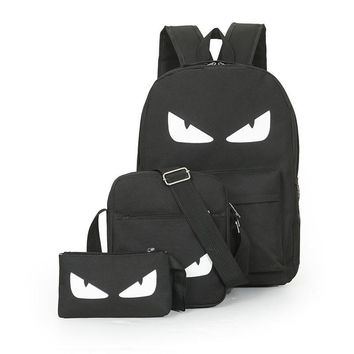 3Pcs/Sets Anime Luminous Black Backpacks Gengar One Piece Batman Super Man Naruto Bags Music Students Backpacks For School Gifts