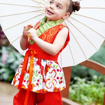 Girls Kimono and Bloomers Outfit, Asian Inspired