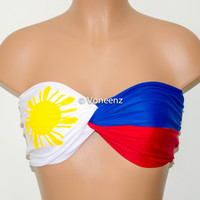PADDED Philippine Flag Bandeau, Swimwear Bikini Top, Twisted Top Bathing Suits, Spandex Bandeau Bikini