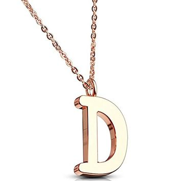 BodyJ4You Necklace Letter D Initial Alphabet Charm D Stainless Steel Rose Goldtone Chain