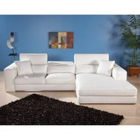 Chintaly Stockton White Leather Sectional Sofa - Modern Living Room Furniture at Hayneedle