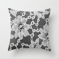 black and white laced Throw Pillow by McKenzie Nickolas (kenzienphotography)