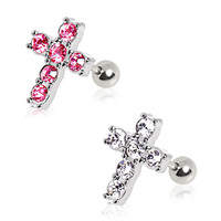 316L Surgical Steel Multi CZ Cross Stud Cartilage Earring