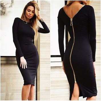 Black Long Sleeve Full Zipper Pencil Dress