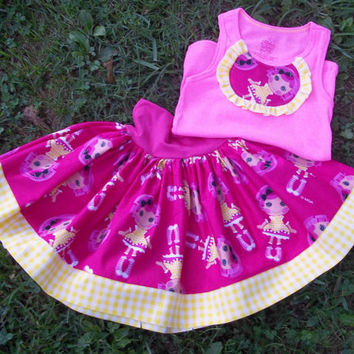 Lalaloopsy Everyday Play Skirt set with Tank Top/Licensed Lalaloopsy fabric/Girls Clothing/Boutique Clothing/Yoga waistband skirt