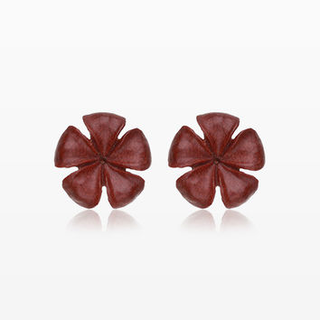 A Pair of Plumeria Handcarved Wood Earring Stud