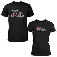 Mr and Mrs Ribbon Couple T-shirts Cute Matching Couple Tee Wedding Gifts Ideas