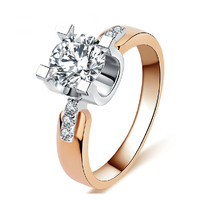 Classical 18K Rose Gold Plated  Finger Rings Simple Jewelry Vintage ring zirconia Wedding Rings for women Engagement Bague KR015