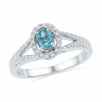 10kt White Gold Women's Oval Lab-Created Blue Topaz Solitaire Diamond Ring 1-2 Cttw - FREE Shipping (US/CAN)