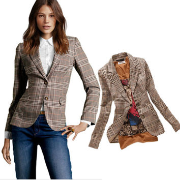 2017 New Stylish Women's Plaid Elbow Patches Two Button Slim Fit Blazer Ladies Autumn Suits Basic Jacket Casual Blazer Feminino