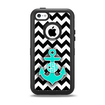 The Teal Green Monogram Anchor on Black & White Chevron Apple iPhone 5c Otterbox Defender Case Skin Set