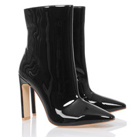 'Malachi' Black Vinyl Ankle Boot - Mistress Rocks