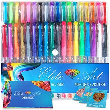 36 Gel Pens with Comfort Grip and Bonus Sketchbook Thick Paper and Coloring EBooks Glitter Metallic Neon Pastel Art Set for Drawing Sketching Doodling Great Gift Non-toxic Acid Free