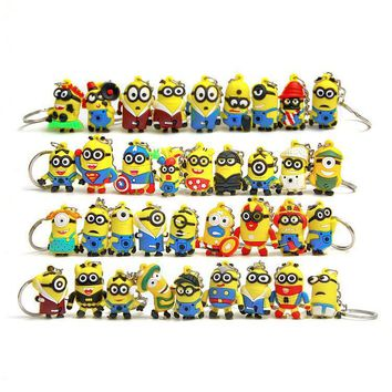 1 Piece Cute Styles Yellow Minions Cartoon Animiation Action Figure Doll Keychain