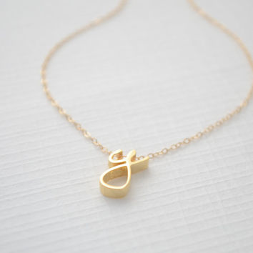 Gold Cursive Initial Necklace - 1160