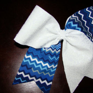 White Squiggle Sequins and Blue Chevron Criss by isparklethat