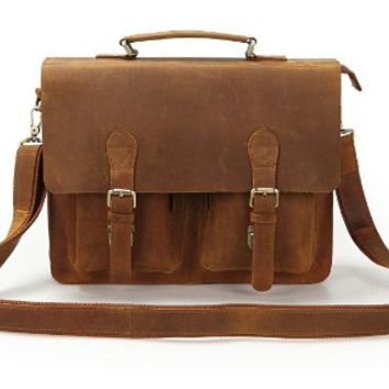 15 Inch Crazy Horse Leather Style Men's Brown Briefcase Bag Handbag Laptop Bag Messenger Bag