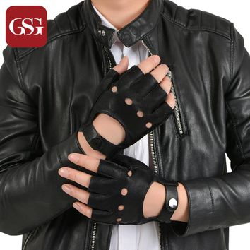 GSG Brand Fingerless Driving Genuine Leather Gloves Men Black Driver Sheepskin Soft Half Fingers Hasp Fitness Tactical Gloves