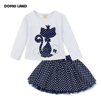 2016 Fashion winter DOMEI LAND Boutique Outfits Baby clothes Girls Sets Cute cat Print Long Sleeve Tops Bow Tutu Skirts suits