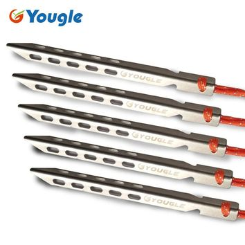 YOUGLE 16cm Titanium Alloy V-shaped Tent Pegs Ultra-light high strength Outdoor Camping Equipment Traveling Stake Nail Accessory