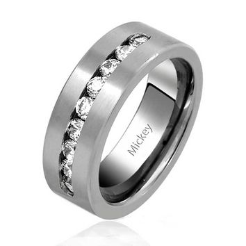 Channel Set AAA CZ Mens Titanium Wide Wedding Band Ring 8mm