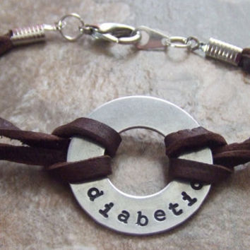 Handstamped Silver and Leather Medical Alert Bracelet - Diabetic Asthma Allergies Autism Pacemaker