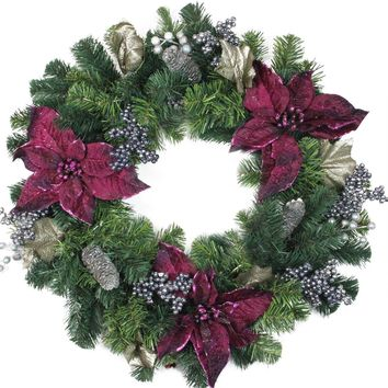 """24"""" Two-Tone Pine with Purple Poinsettias Silver Pine Cones and Berries Christmas Wreath - Unlit"""