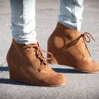 Joy-1 Oxford Inspired Wedge Lace Up Ankle Bootie (Tan) - Shoes 4 U Las Vegas